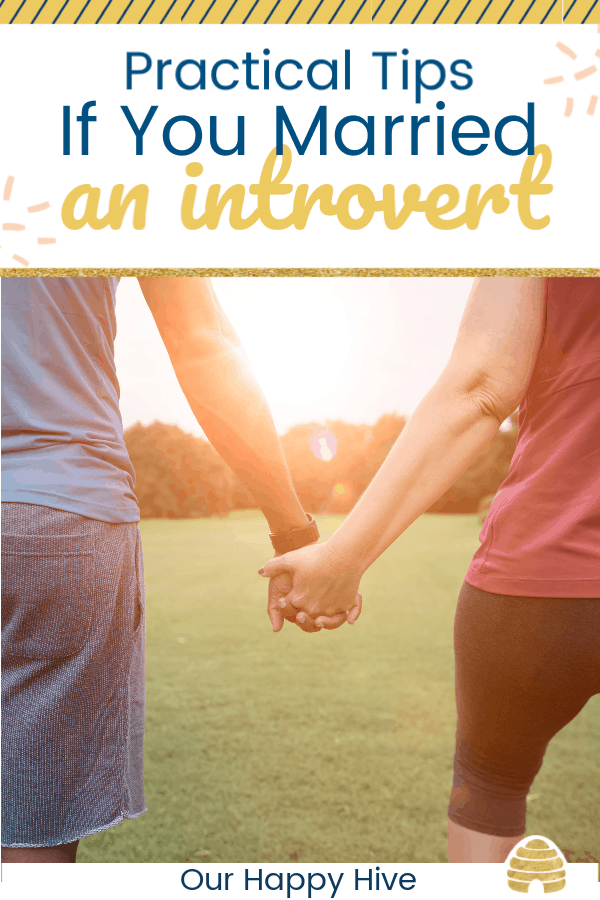 couple holding hands walking with text practical tips if you married an introvert