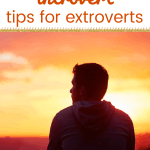 man looking at the sun set with text married to an interovert tips for extroverts