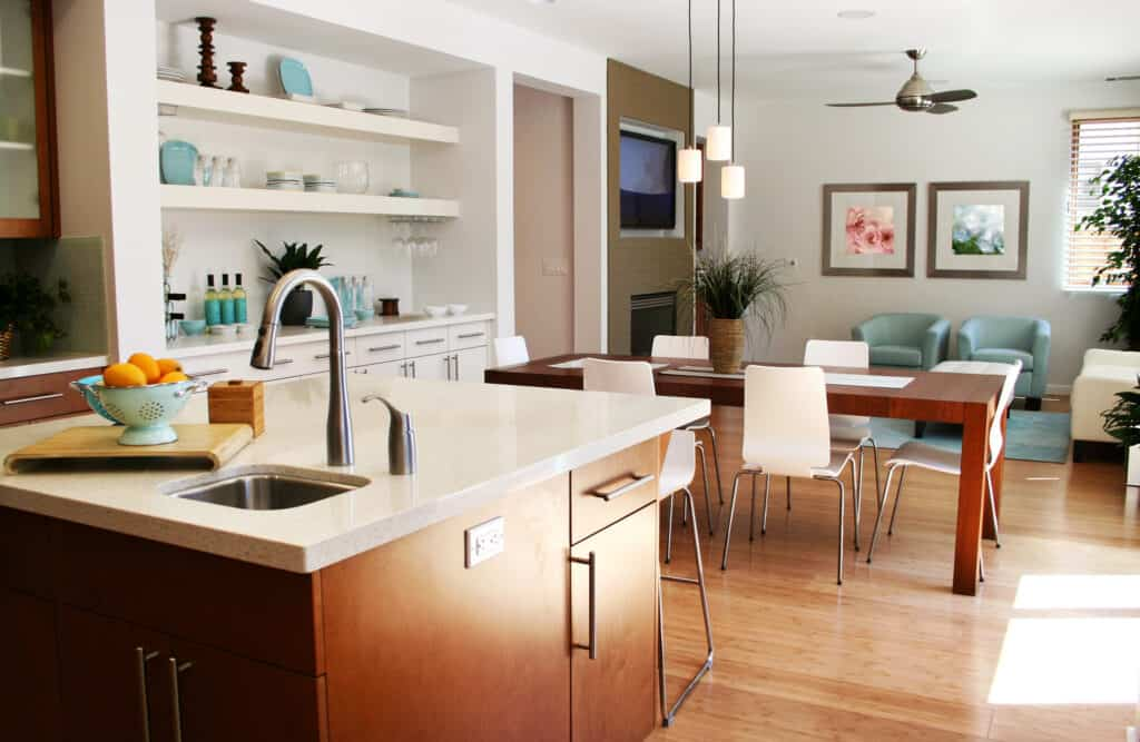 Modern kitchen with sitting and dining area