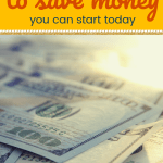 Close up of hundread dollar bills with text 50+ brilliant ways to save money you can start today