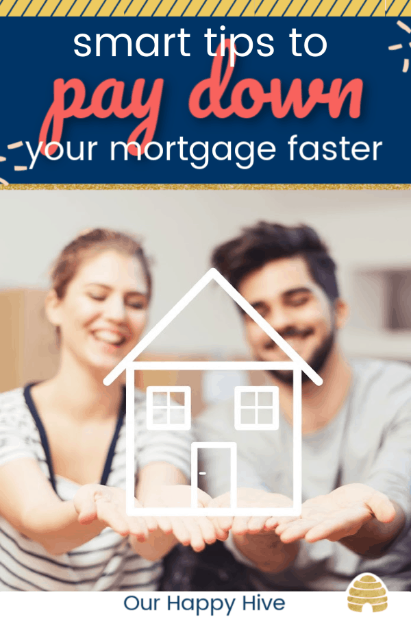 woman and man in the background holding an image of a house with text smart tips to pay down your mortgage faster