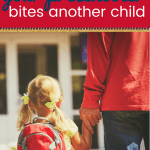 parent holding a childs hand with text what to do when your preschooler bites another child