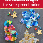 Close up of DIY christmas ornaments with text 3 simple christmas crafts for your preschooler