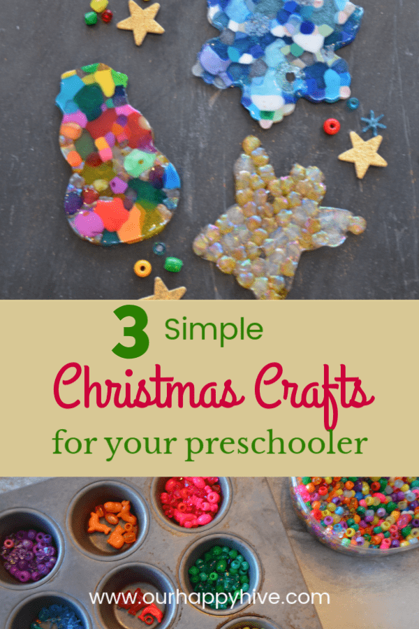 close up of bead ornaments with text 3 simple christmas crafts for preschoolers