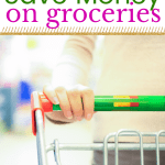 womans hand pushing a grocery cart with text powerful ways to save money on groceries