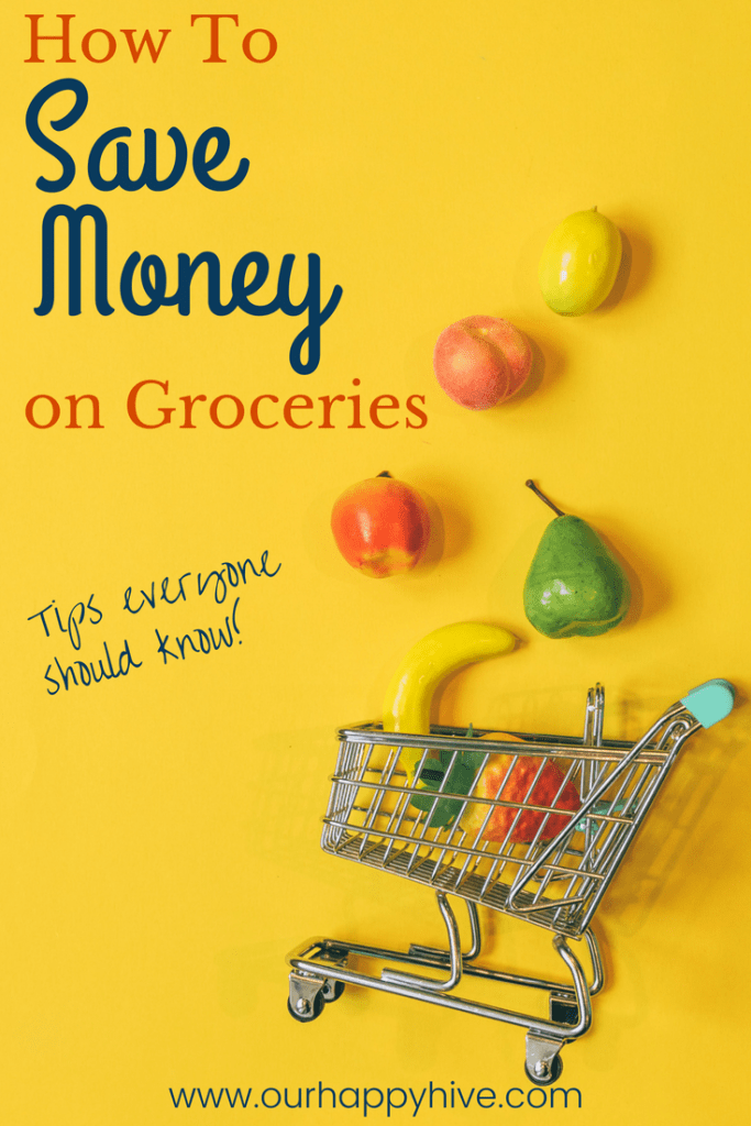 Grocery cart with large fruit floating up from it with text How to save money on groceries