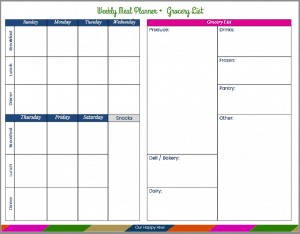 Weekly Menu & Grocery List Printable