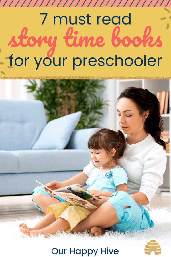 daughter sitting in her moms lap with text 7 must read story time books for your preschooler