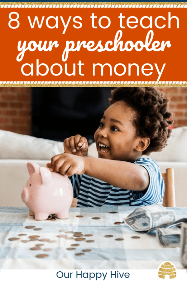 excited kid putting money in piggy bank with text 8 ways to teach your preschooler about money