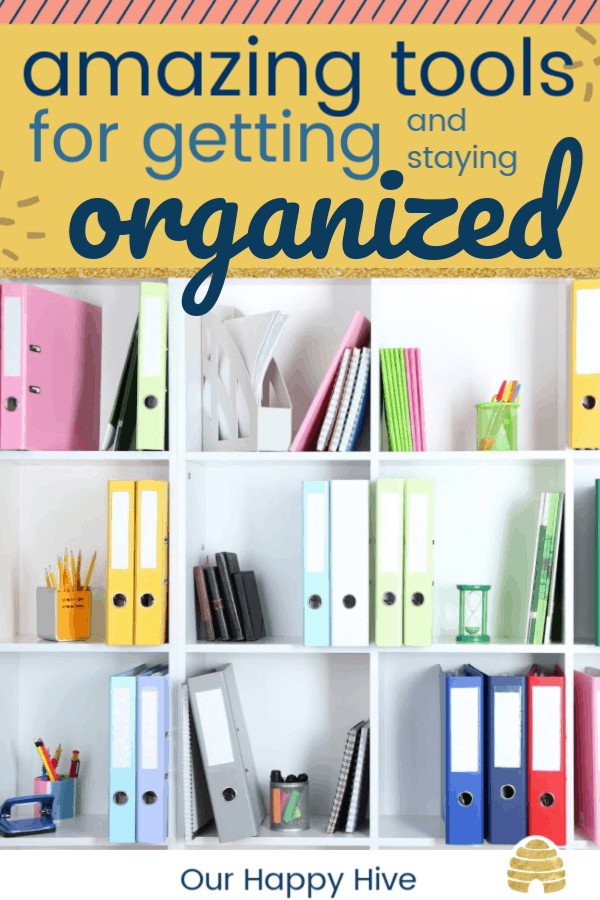 bookshelf with organized binders and text amazing tools for getting and staying organized