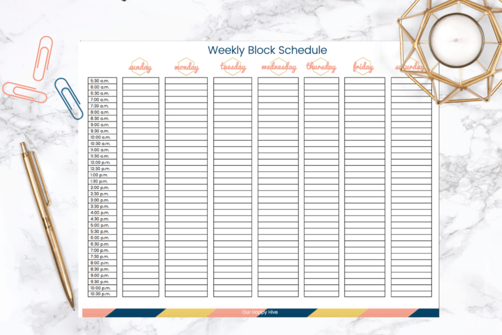 screen shot of a weekly block schedule