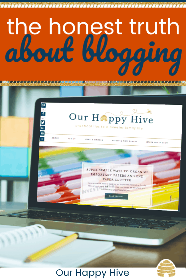 laptop sitting on a desk with text the honest truth about blogging