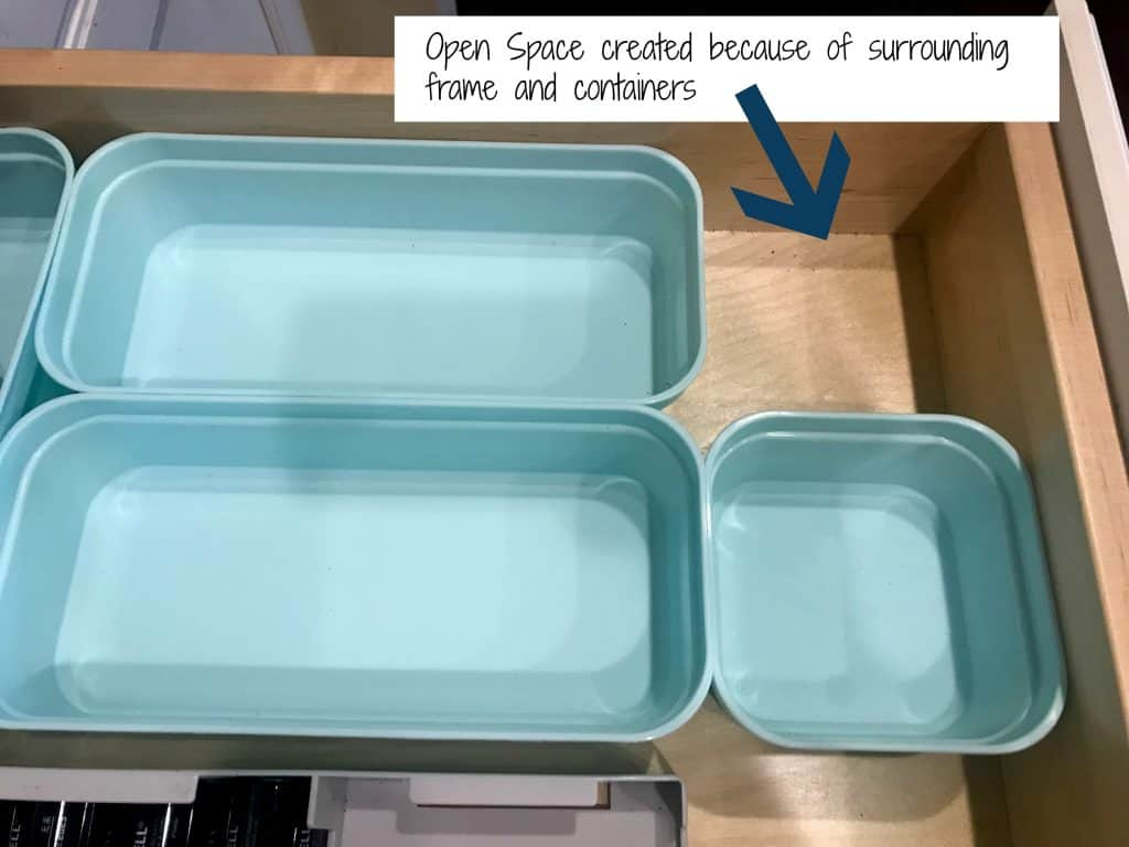 drawer with empty containers and text open space created because of surrounding frame and containers