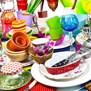 Clutter from household wares on a table