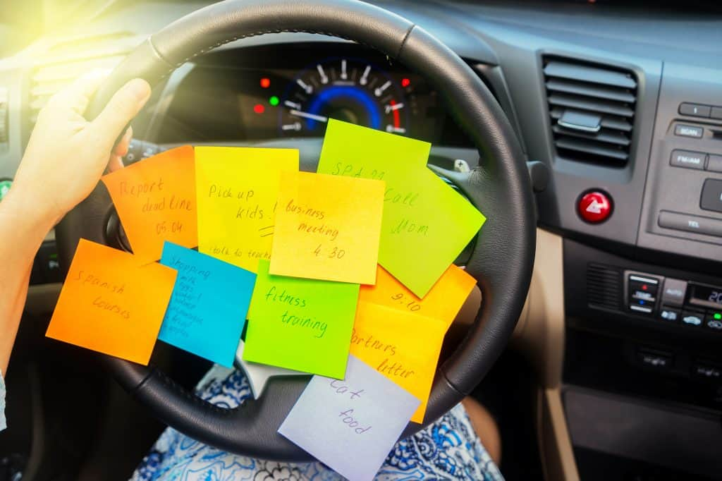 To do list in a car - busy day