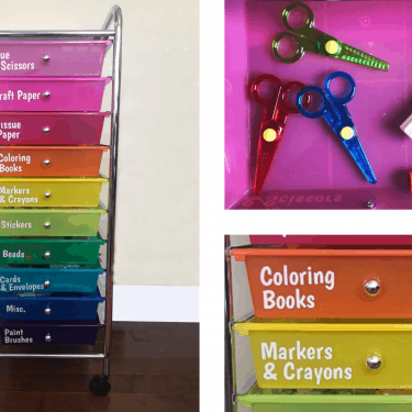 Vertical rainbow colored craft organizing cart with labels on each drawer, close up of a drawer with scissors and glue sticks, close up of drawers with labels