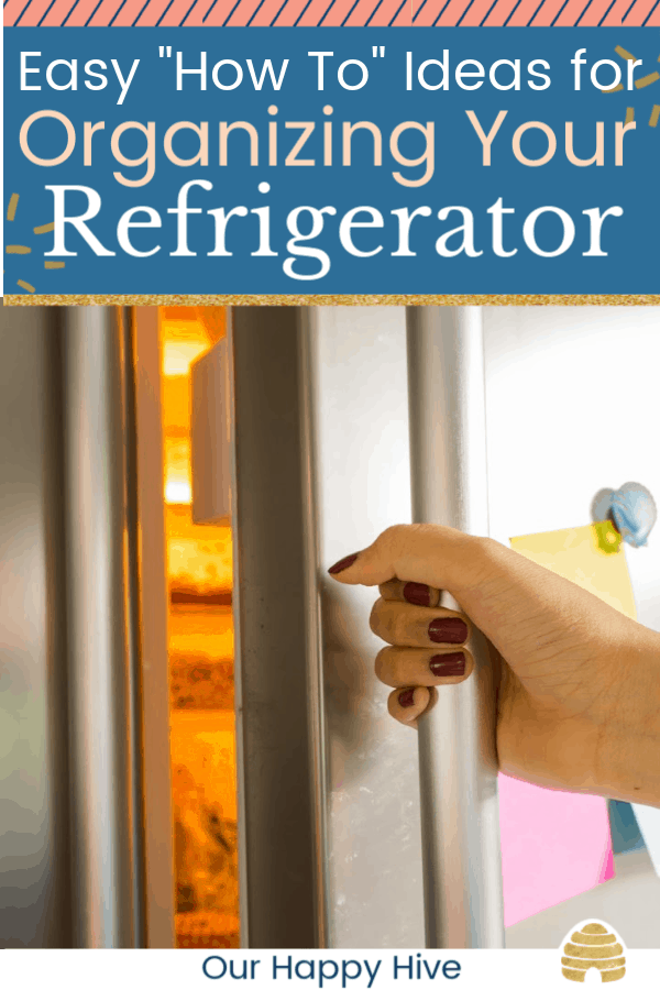 Woman hand opens refrigerator door with text Easy How To Ideas for Organizing Your Refrigerator